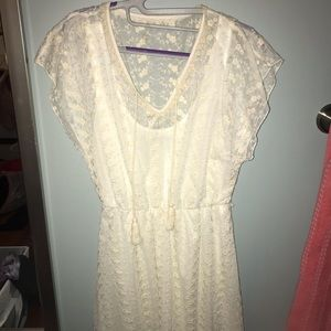 Sequin Hearts White Lace Dress